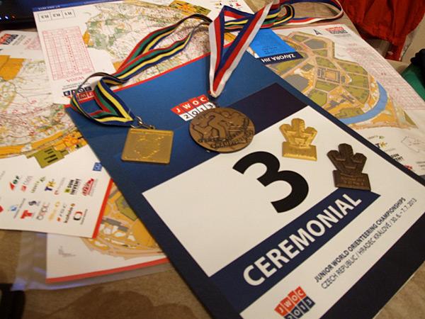 Слева направо: золото Чемпионата Балтийских стран (длинная), бронза Чемпионата Мира (спринт),золото Чемпионата Швеции (спринт), бронза Чемпионата Швеции (средняя)